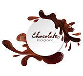 Round banner with liquid milk chocolate splashes isolated on white background, vector illustration