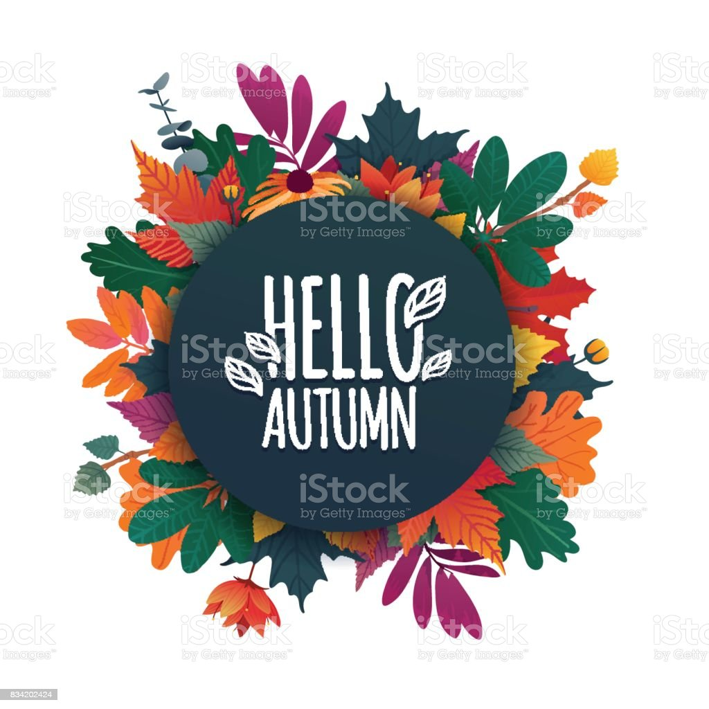 Round Banner With The Hello Autumn Logo. Card For Fall Season With White  Frame And