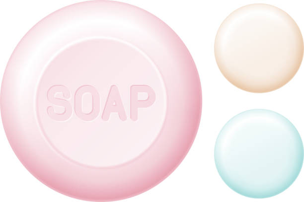Round bar of soap isolated on white. Easy recolored vector vector art illustration