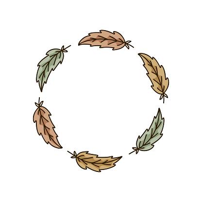 Round bird feather frame on white background. Isolated doodle illustration