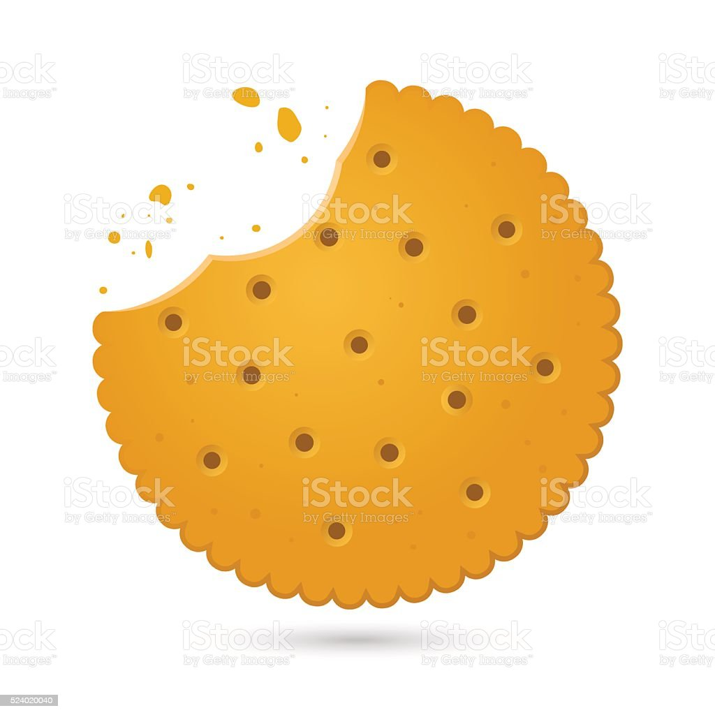 Round Biscuit Crackers With Bite Marks Vector Illustration vector art illustration