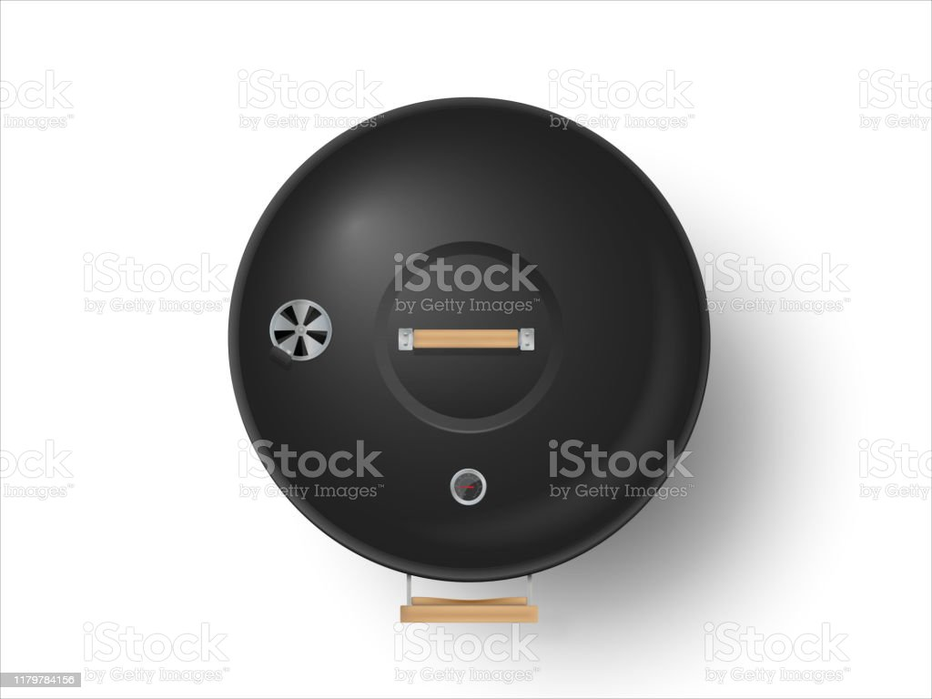 Round black closed barbecue grill top view  realistic vector illustration - Royalty-free Ao Ar Livre arte vetorial