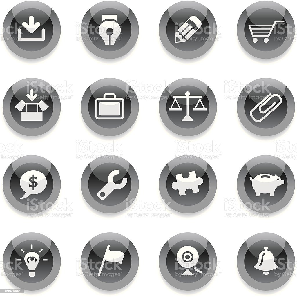 Round, black icons with different images royalty-free stock vector art