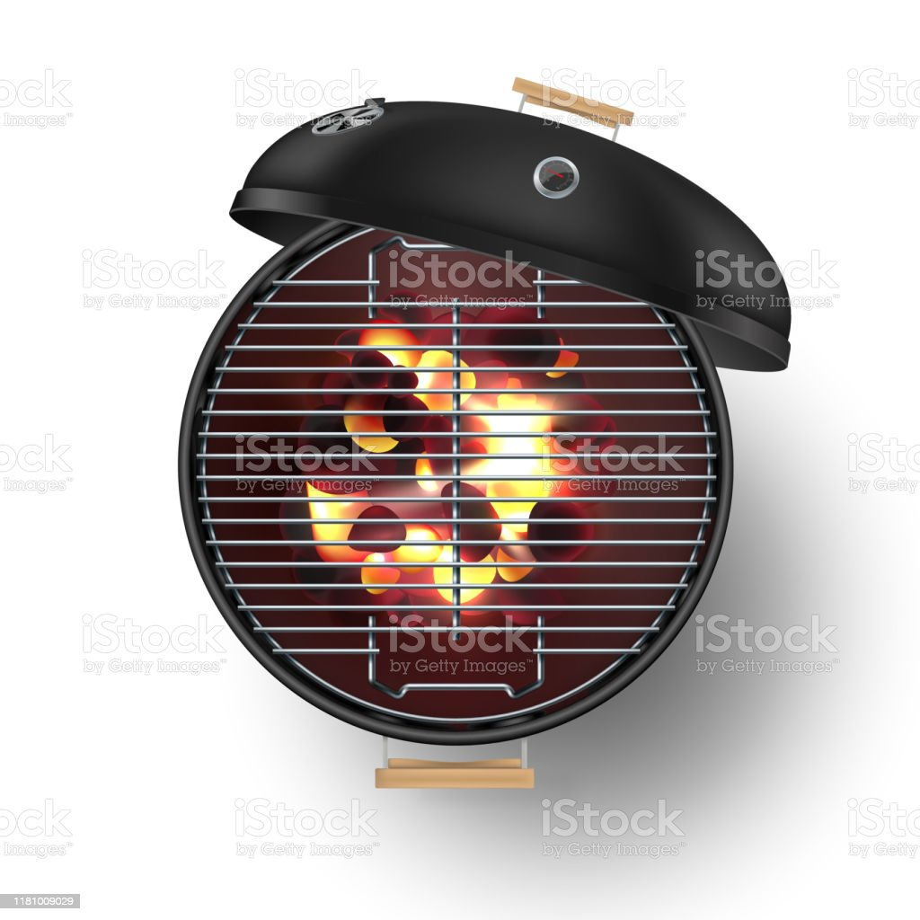 Round black  open barbecue grill top view  realistic vector illustration. Burning coals - Royalty-free Ao Ar Livre arte vetorial
