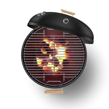 Round Black Open Barbecue Grill Top View Realistic Vector Illustration Burning Coals - Arte vetorial de stock e mais imagens de Ao Ar Livre