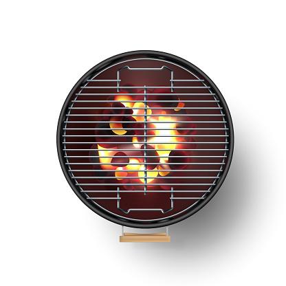 Round Black Open Barbecue Grill Top View Realistic Vector Illustration Burning Coals - Arte vetorial de stock e mais imagens de Ao Ar Livre
