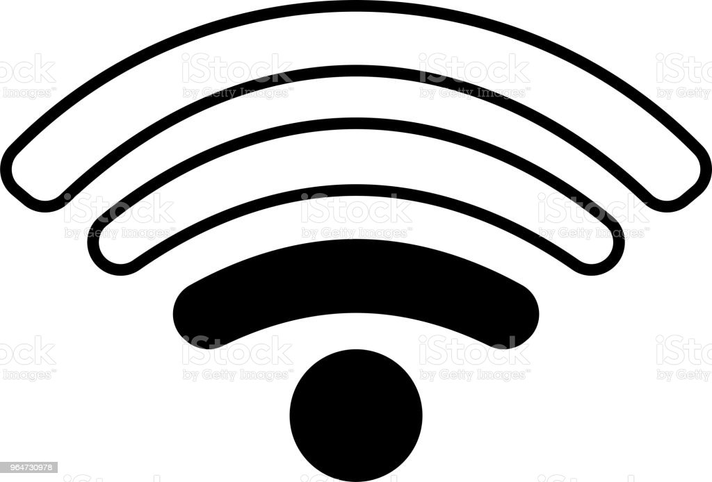 Round Black Signal icon of radio wave status 2 vector art illustration