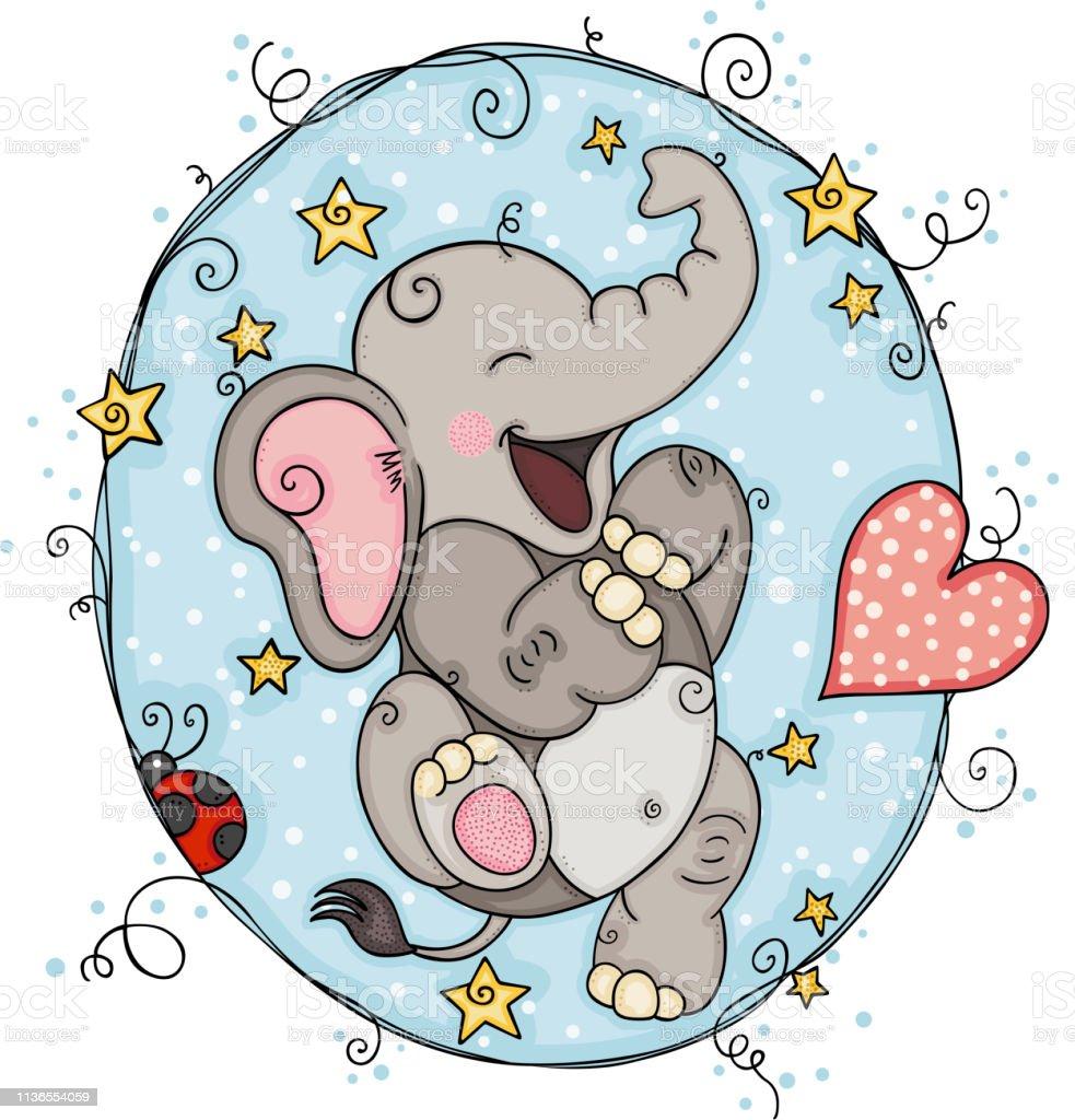 Round blue background with happy elephant