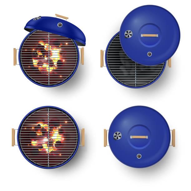 ilustrações de stock, clip art, desenhos animados e ícones de round blue   barbecue grill top view  realistic vector illustration set. burning coals. - burned oven