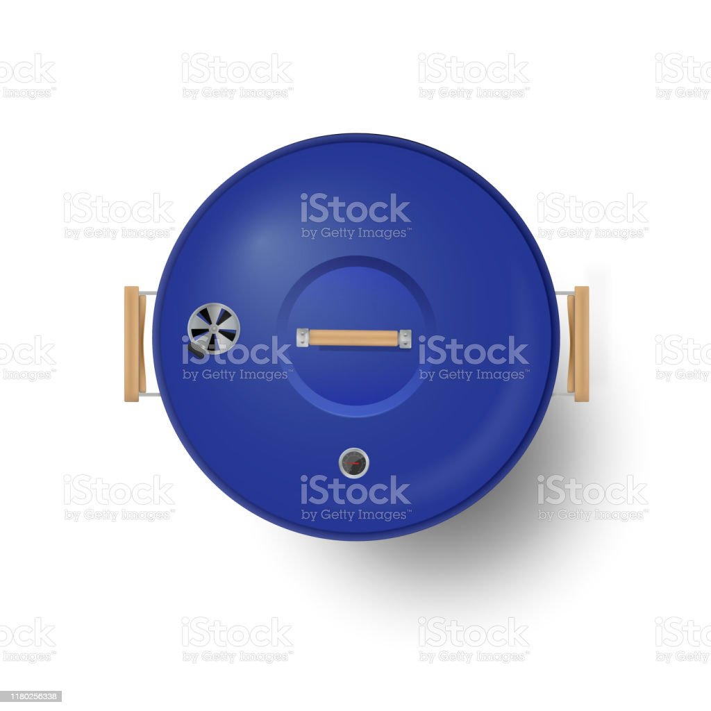 Round blue  closed barbecue grill top view  realistic vector illustration. - Royalty-free Ao Ar Livre arte vetorial