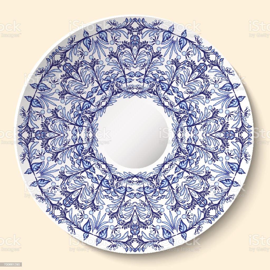 Peinture Sur Porcelaine Assiette rond bleu ornement floral style basé sur peinture sur