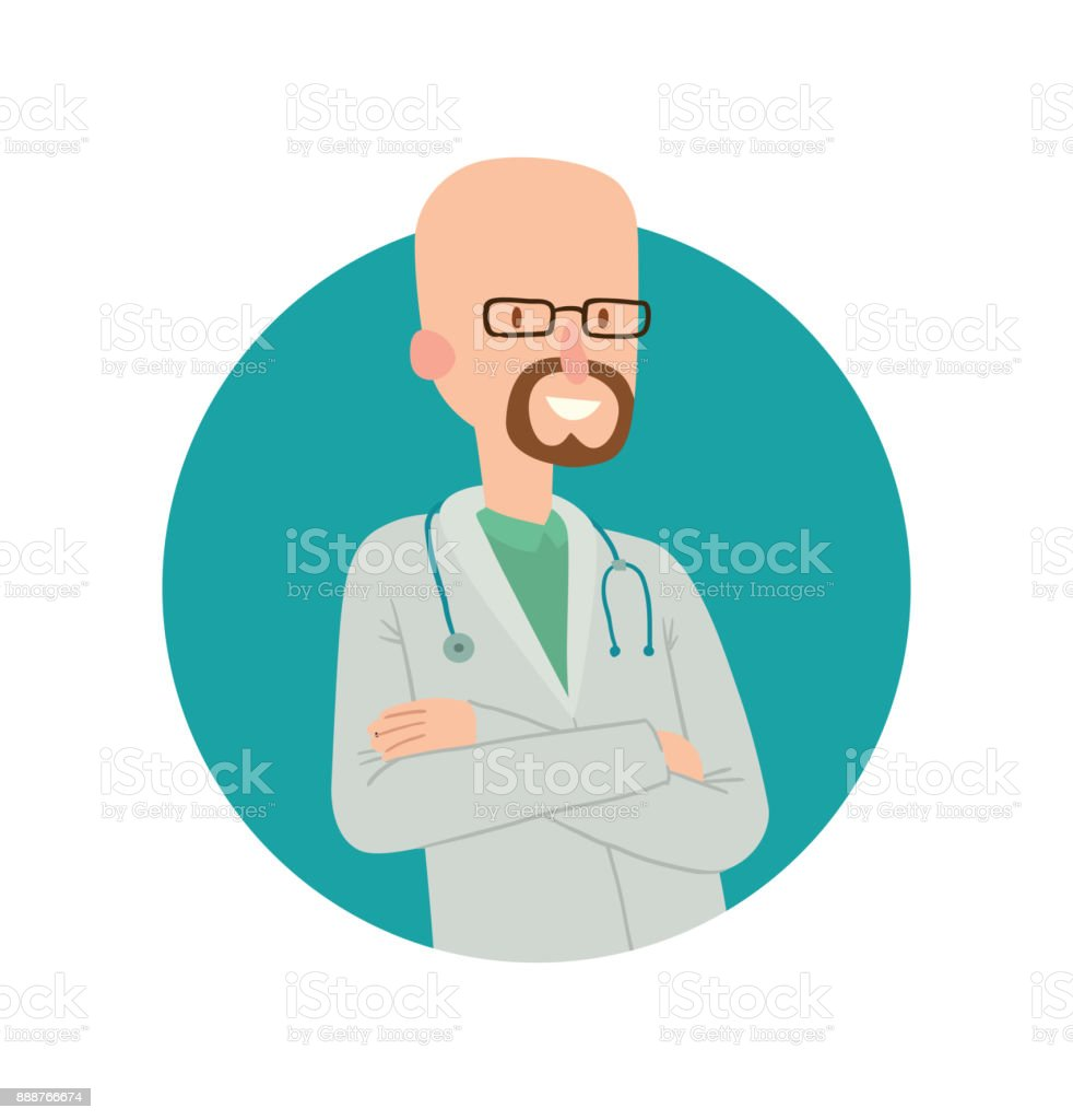 Round blue frame, bald man doctor with a beard vector art illustration