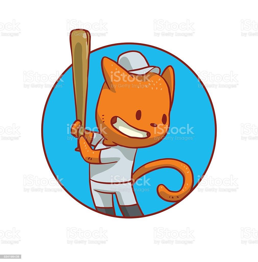 Runde Blauer Rahmen Niedlich Katze Spielen Baseball Vektor ...