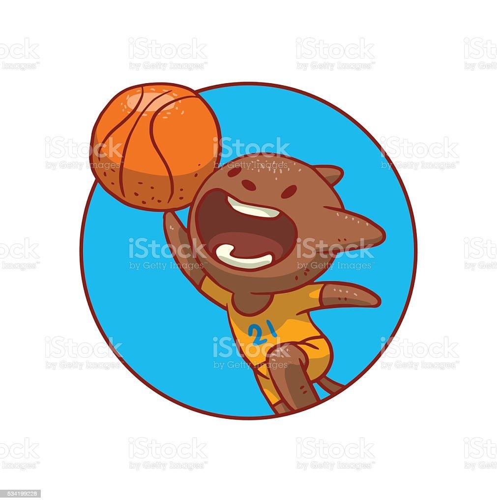 Runde Blauer Rahmen Niedlich Katze Spielen Basketball Vektor ...