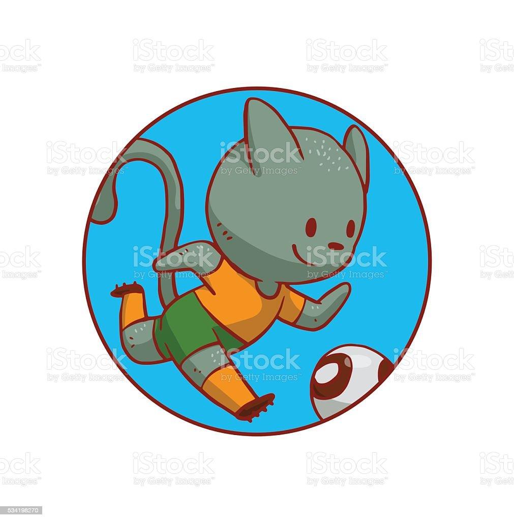 Runde Blauer Rahmen Niedlich Katze Spielt Fußball Vektor ...