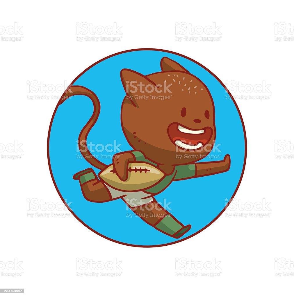 円形のブルーフレームかわいい猫がラグビー アメリカ合衆国のベクター