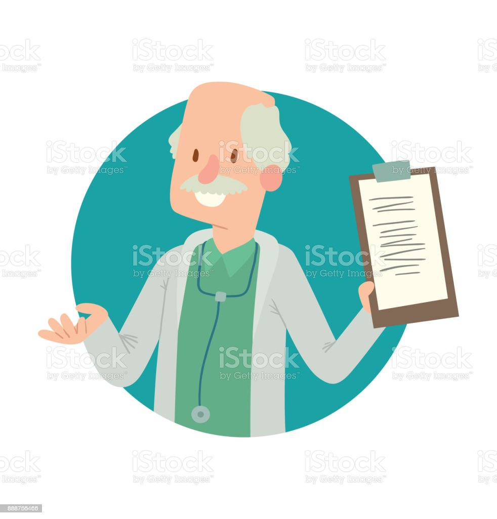 Round blue frame, old bald man doctor with a mustache vector art illustration