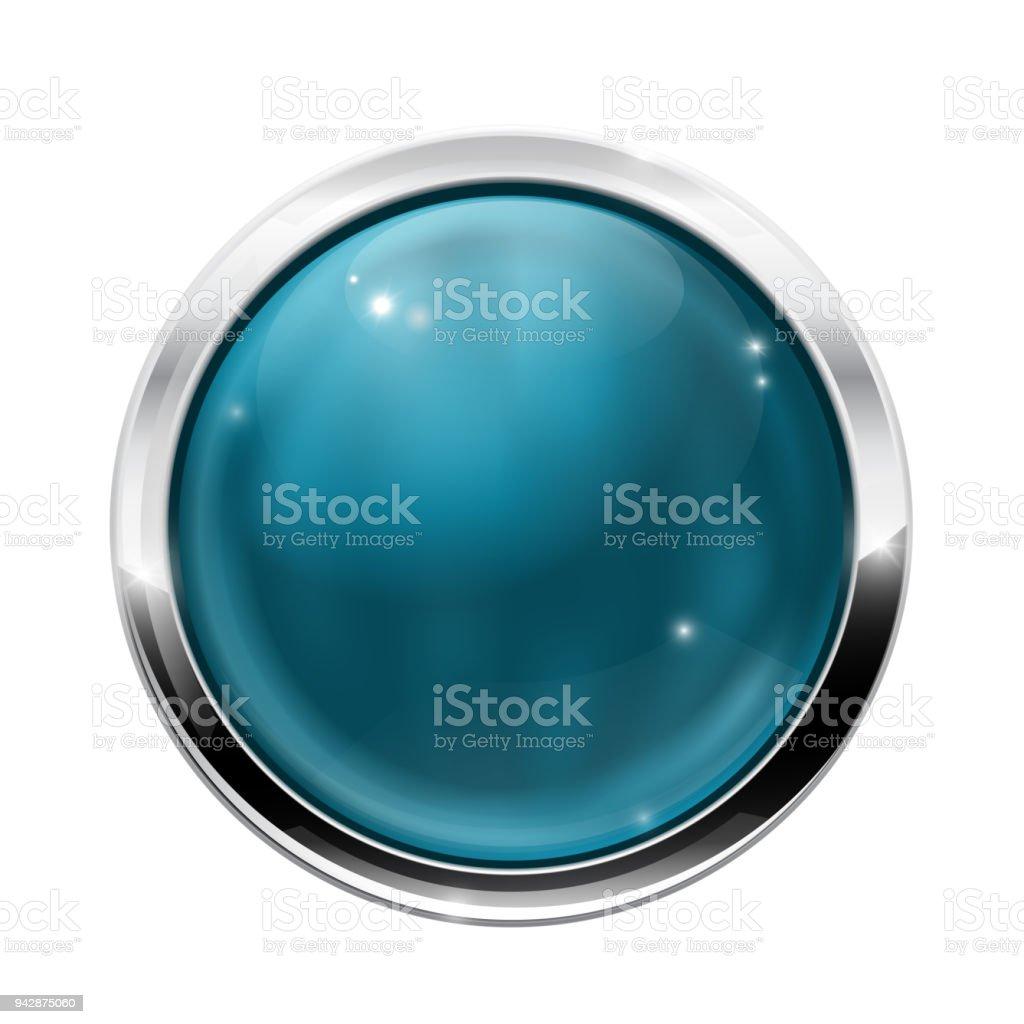 Botones Azul Redonda De Vidrio Con Marco De Cromo - Arte vectorial ...