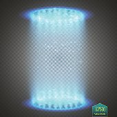 Round blue glow rays night scene with sparks on transparent background. Empty light effect podium. Disco club dance floor. Show party. Beam stage