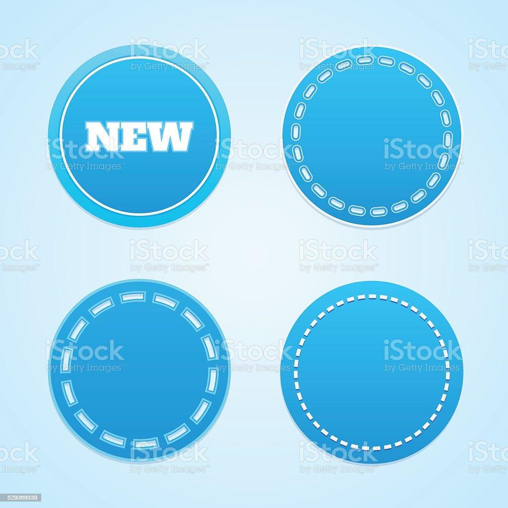Round blue labels. vector art illustration