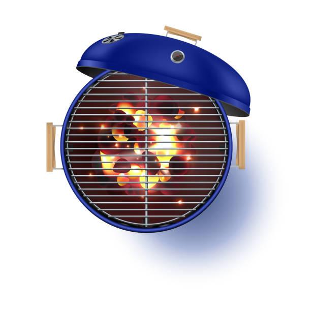 ilustrações de stock, clip art, desenhos animados e ícones de round blue  open barbecue grill top view  realistic vector illustration. - burned oven