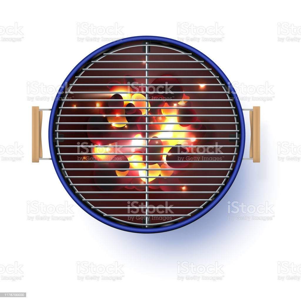 Round blue  open barbecue grill. Top view.  Realistic vector illustration. Burning coals. - Royalty-free Ao Ar Livre arte vetorial