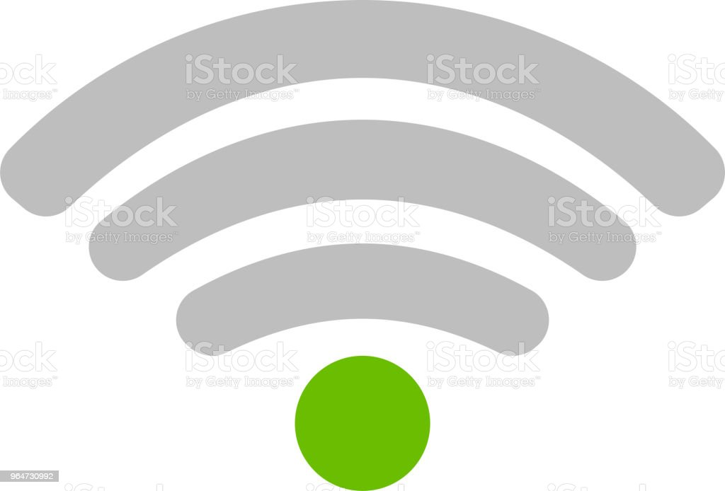 Round Blue Signal icon of radio wave status 1 vector art illustration