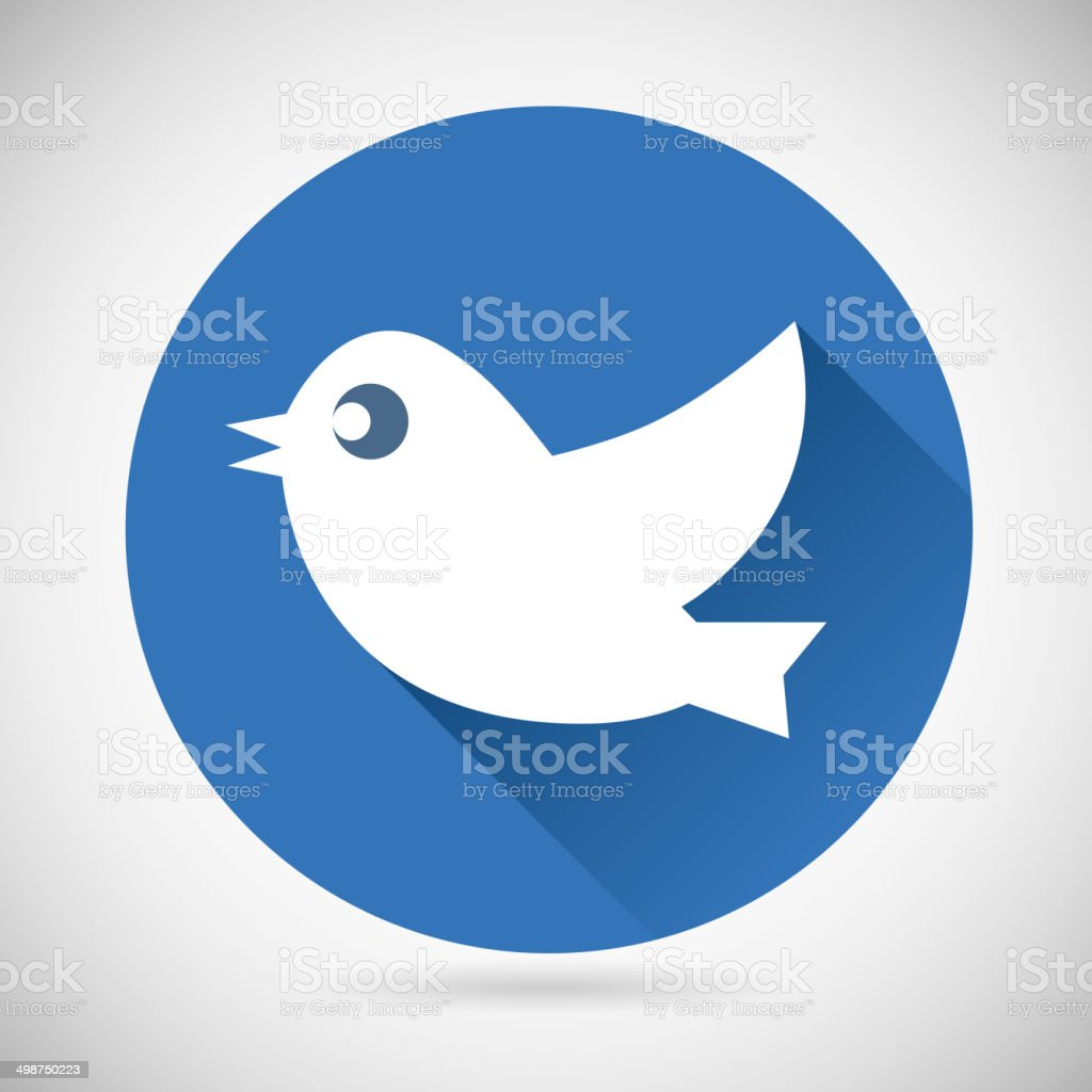 Round Blue Social Media Web or Internet Icon Bird Silhouette vector art illustration