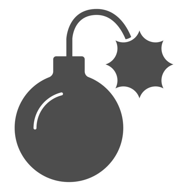 Round bomb with wick solid icon. Dynamite with lite fuse, lighted grenade symbol, glyph style pictogram on white background. Military sign for mobile concept or web design. Vector graphics. Round bomb with wick solid icon. Dynamite with lite fuse, lighted grenade symbol, glyph style pictogram on white background. Military sign for mobile concept or web design. Vector graphics human limb stock illustrations