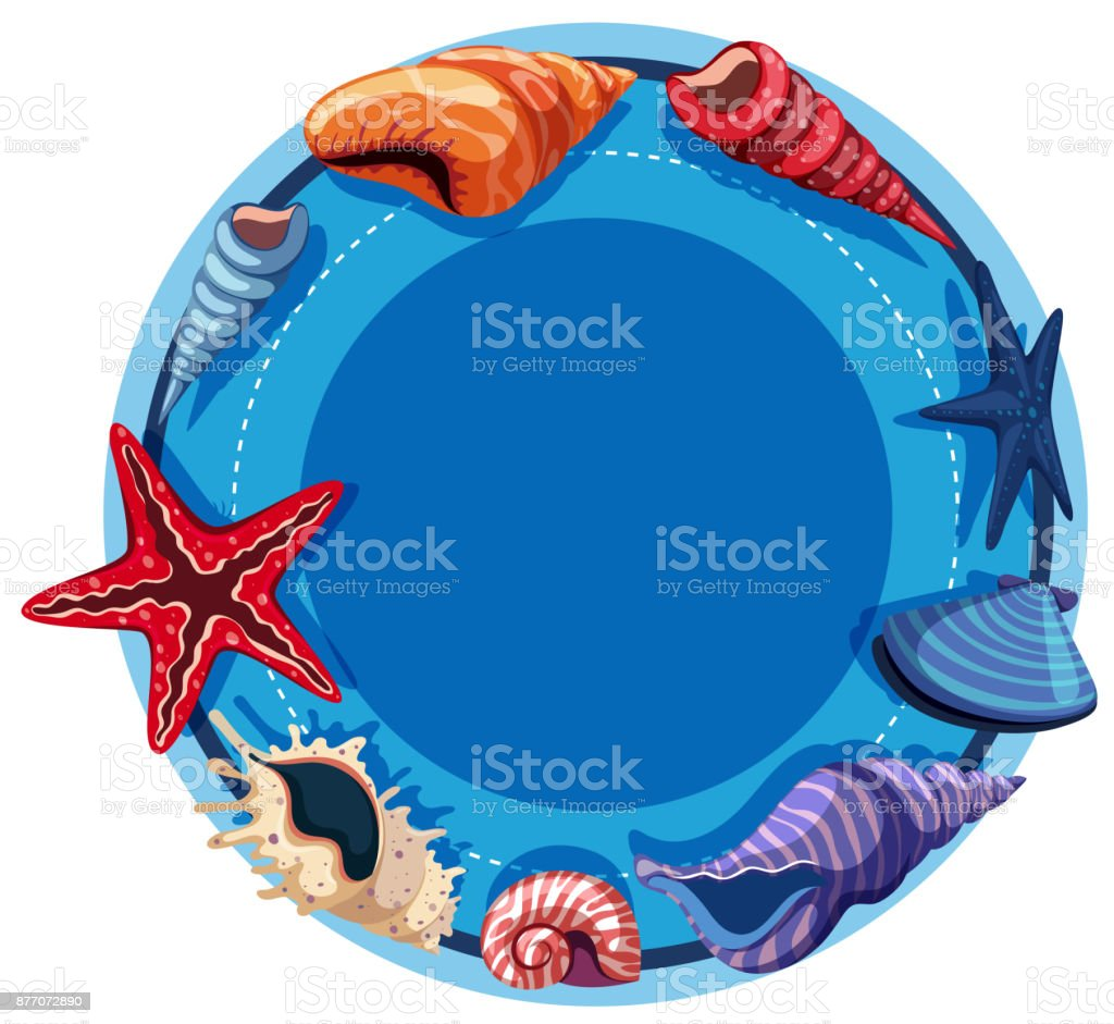 Round border template with starfish and shells vector art illustration
