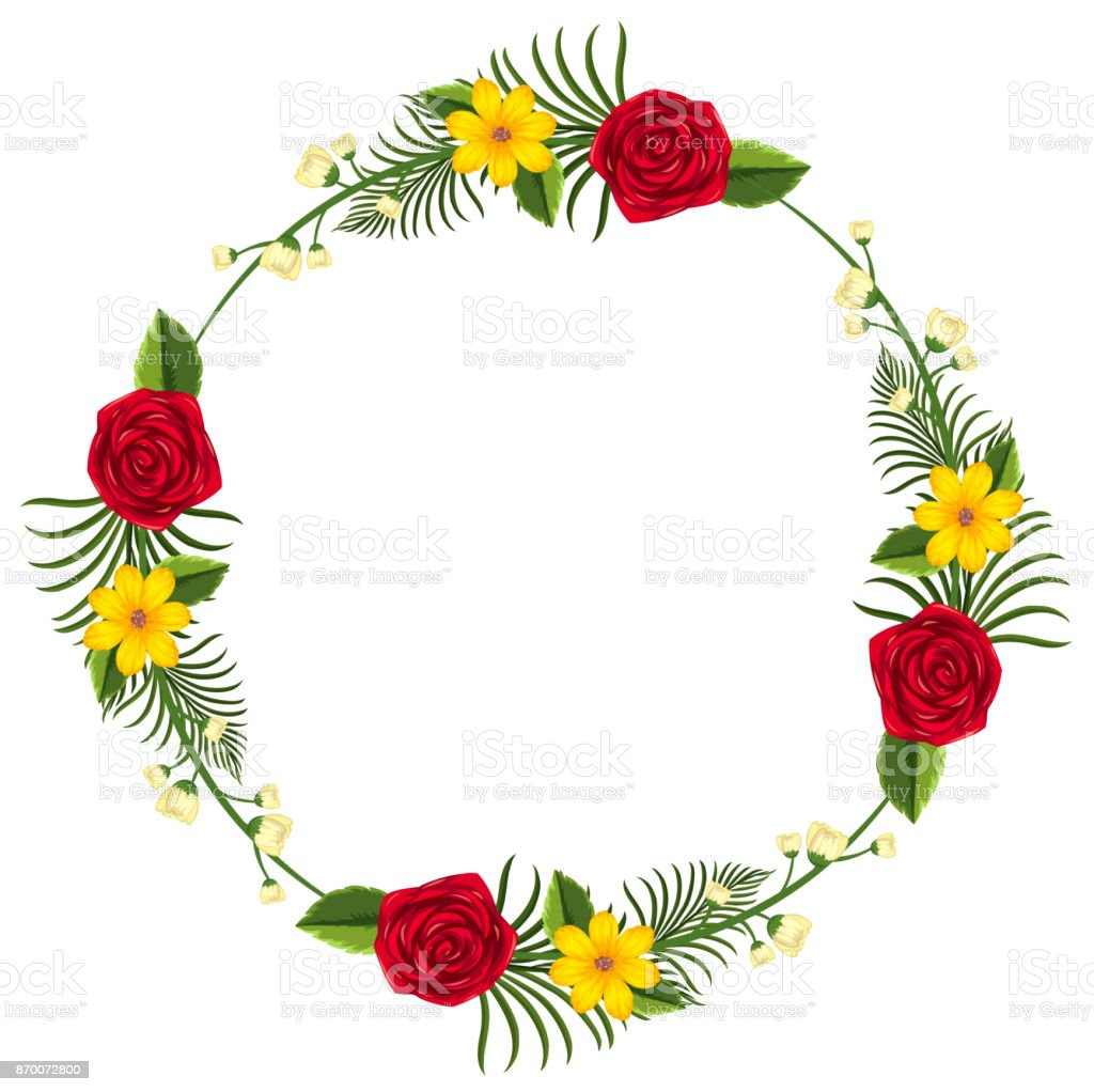 round border template with yellow and red flowers stock vector art
