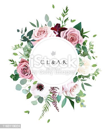 Round botanical vector design frame. Dusty pink, creamy white antique rose, pale flowers, anemone, eucalyptus,greenery. Wedding natural boho style invite card. All elements are isolated and editable