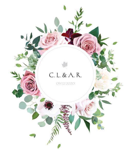 圓形植物載體設計框架 - 淺粉色 幅插畫檔、美工圖案、卡通及圖標