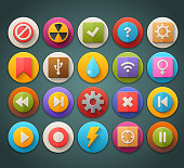 Round Bright Icons with Long Shadow Set 6