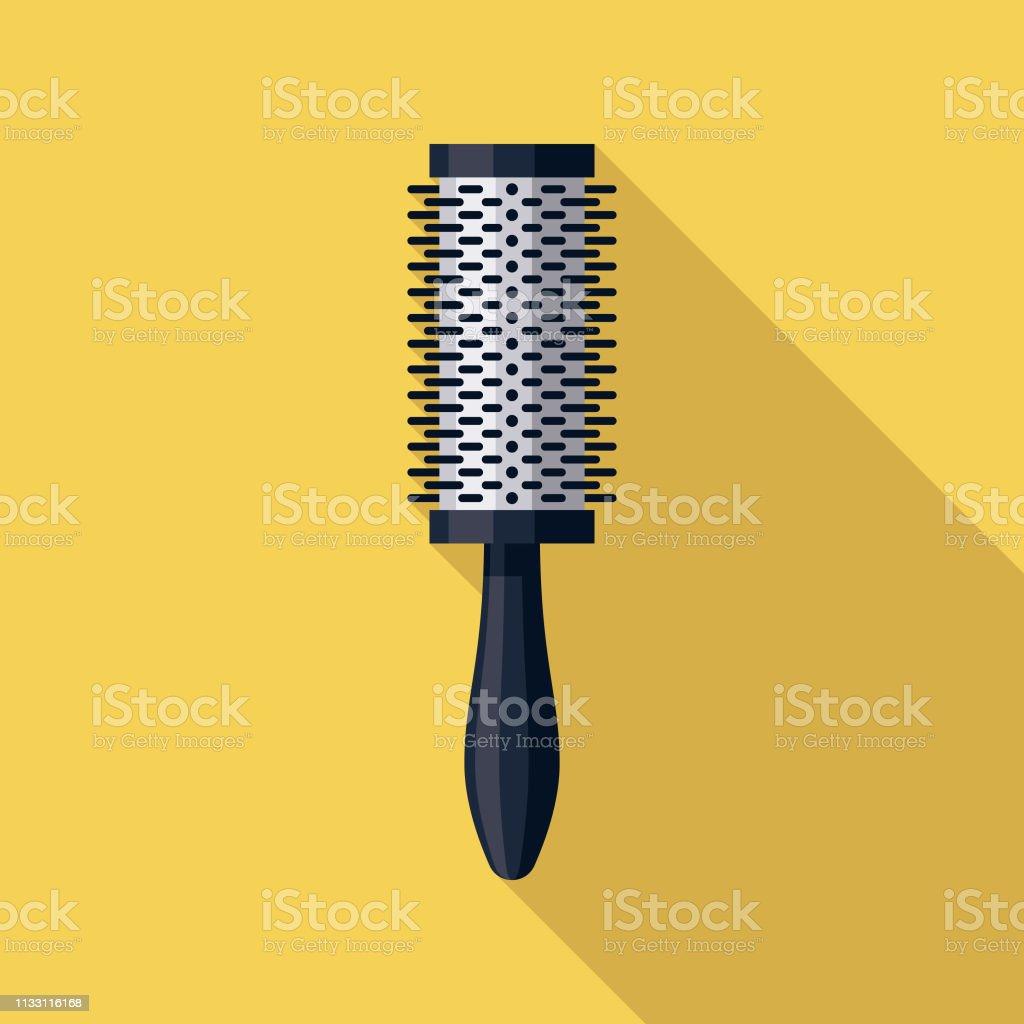 Round Brush Hairdressing Icon vector art illustration