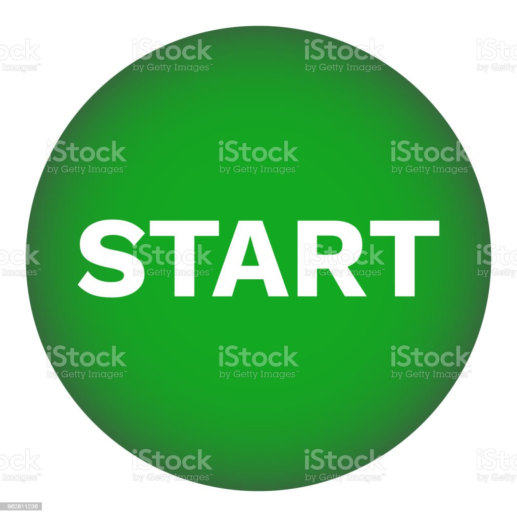 Inicie o botão redondo. Verde. Ícone de vetor - Vetor de Botão - Peça de Máquina royalty-free