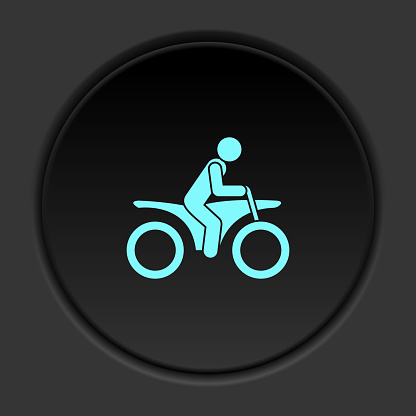 Round button icon Motorcyclist. Button banner round badge interface for application illustration