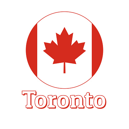 Round button Icon of national flag of Canada with red maple leaf on the white background and lettering of city name Toronto. Inscription for logo, banner, t-shirt print. Vector illustration.