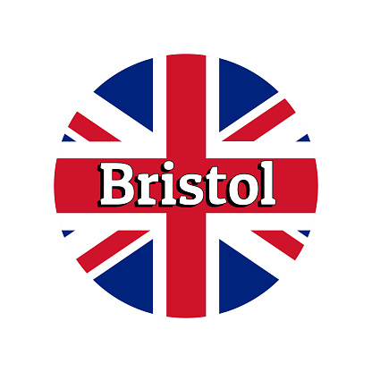 Round button Icon of national flag of United Kingdom of Great Britain. Union Jack on the white background with lettering of city name Bristol. Inscription for logo, banner, t-shirt print.