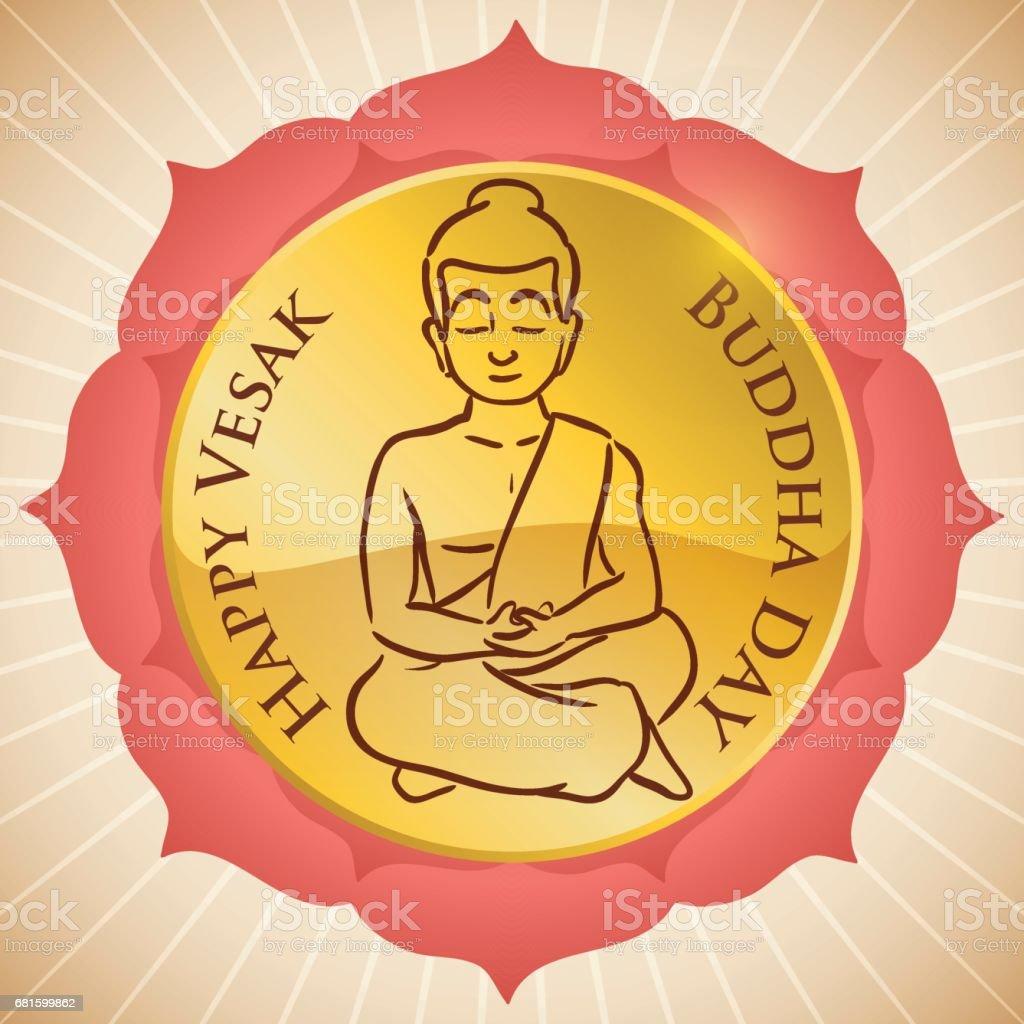 Round Button inside Lotus Design and Seated Buddha for Vesak vector art illustration