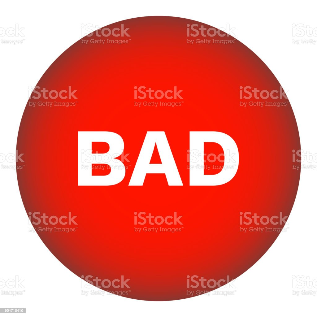BAD round button. Red. Vector icon royalty-free bad round button red vector icon stock vector art & more images of badge
