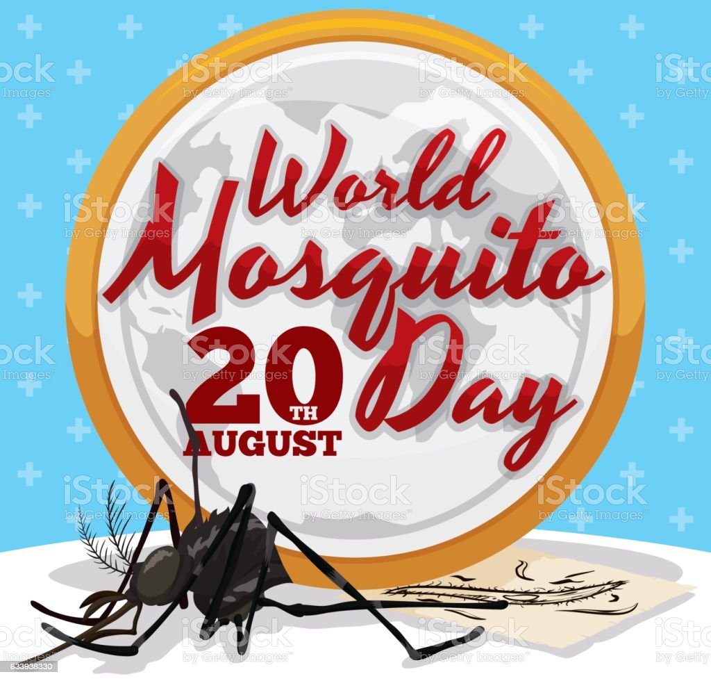 Round Button Smashing a Mosquito to Commemorate World Mosquito Day vector art illustration