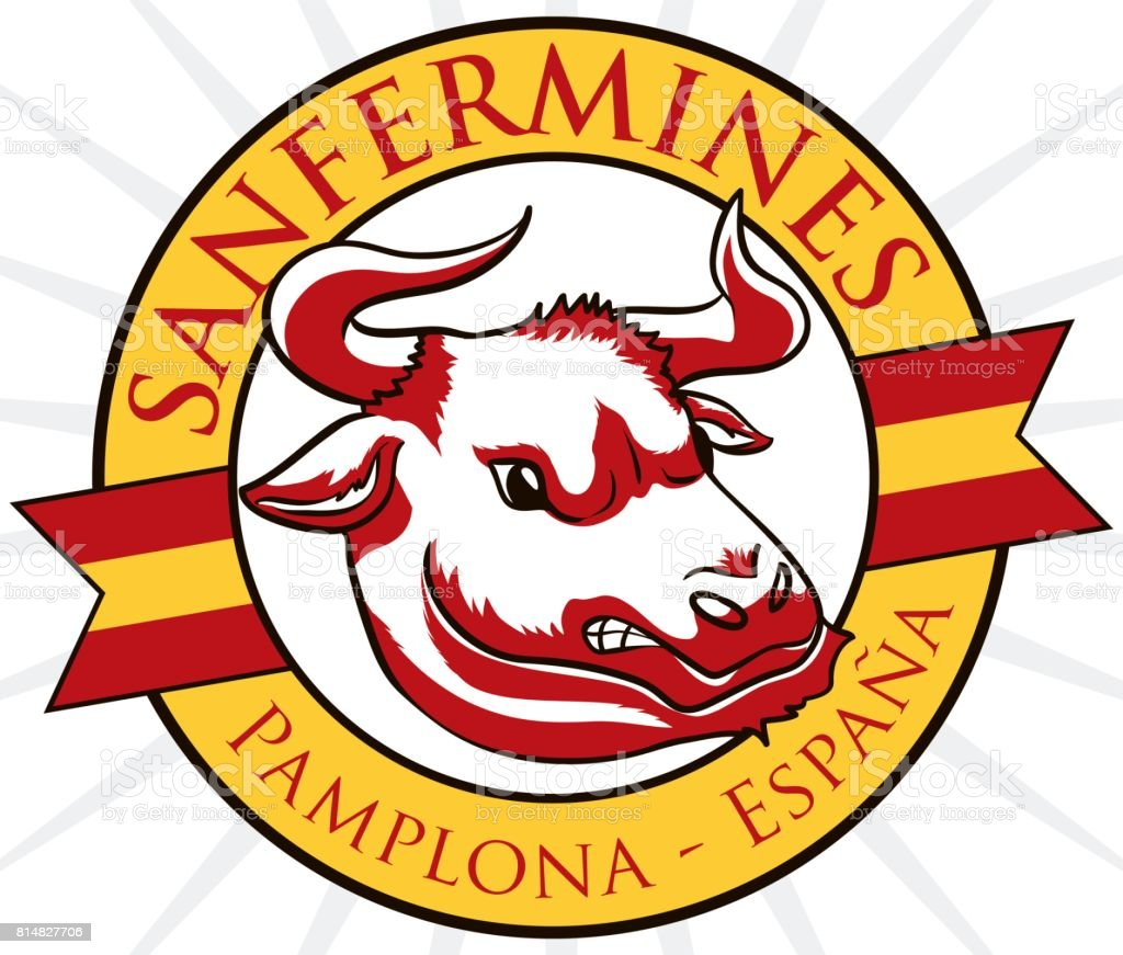 round button with angry bull design for spanish san fermin stock