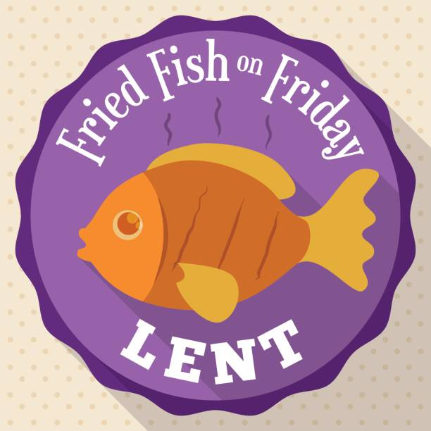Round Button with Fried Fish Design for Lent Round Button with delicious traditional fried fish for Lent celebration in flat style and long shadow effect. lent stock illustrations