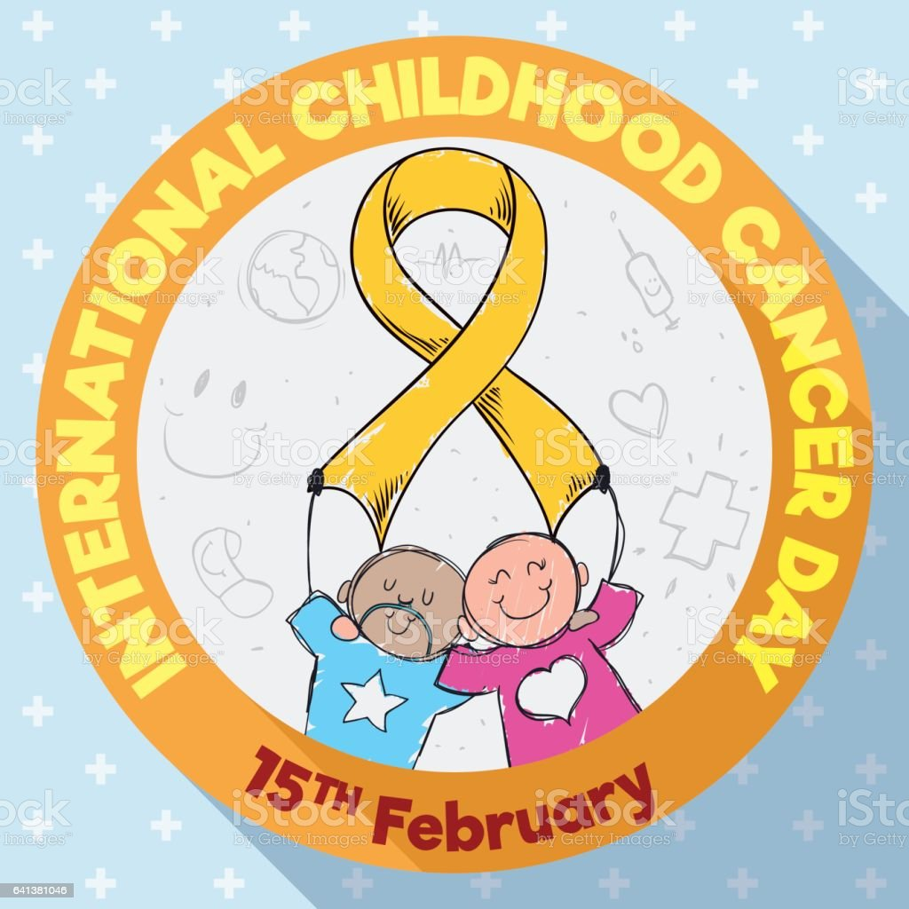 Round Button With Kids Commemorating International Childhood Cancer