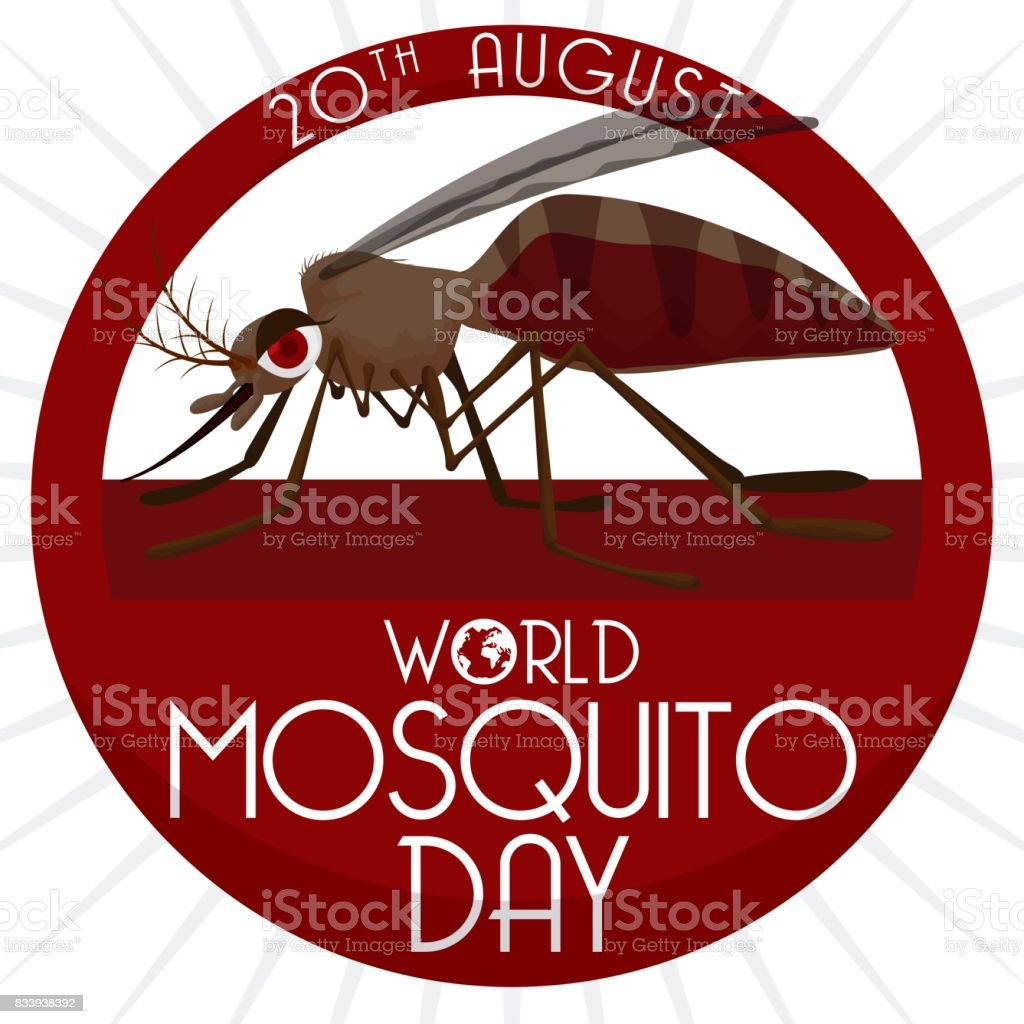 Round Button with Mosquito Inside of it for Mosquito Day vector art illustration