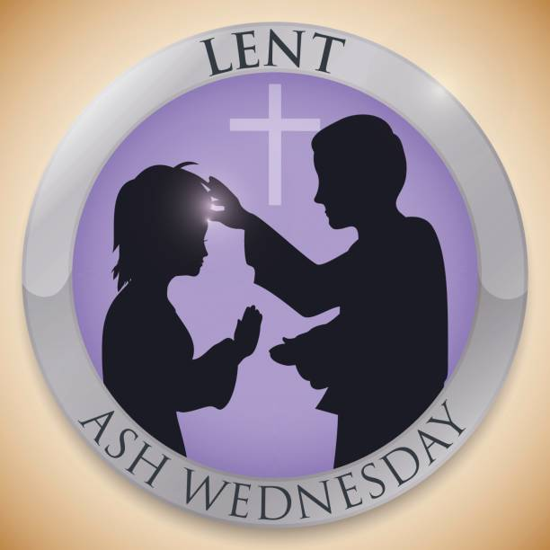 round button with priest and parishioner silhouettes for ash wednesday - ash wednesday stock illustrations, clip art, cartoons, & icons
