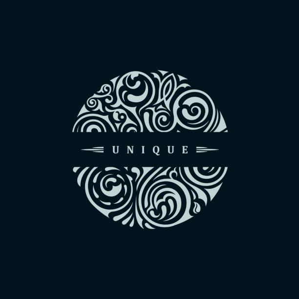 bildbanksillustrationer, clip art samt tecknat material och ikoner med runda kalligrafiska emblem. vektor blommig symbol för café - lyxig monogram