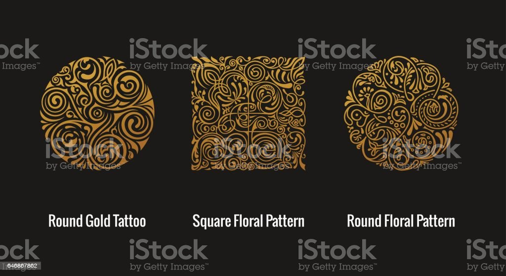 Round calligraphic emblem. Vector floral symbol for cafe