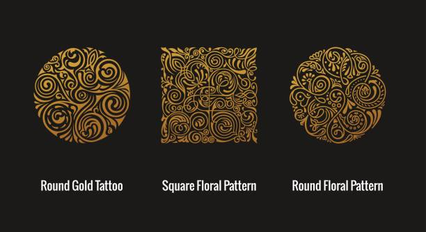 Round calligraphic emblem. Vector floral symbol for cafe Round calligraphic royal gold emblem set. Vector floral symbol for cafe, restaurant, shop, print, stamp. Logo design template label for coffee, tea, business card. Isolated gothic tattoo ornament uk border stock illustrations